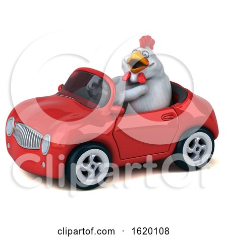 3d White Chicken Driving a Convertible, on a White Background by Julos