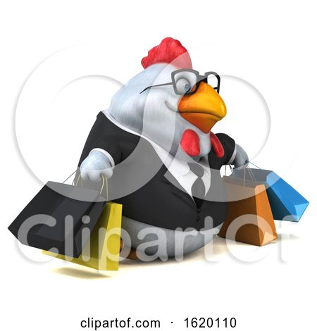 3d White Business Chicken, on a White Background by Julos
