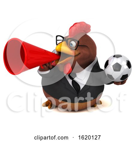 3d Brown Business Chicken, on a White Background by Julos