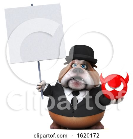 3d Gentleman or Business Bulldog Holding a Devil, on a White Background by Julos
