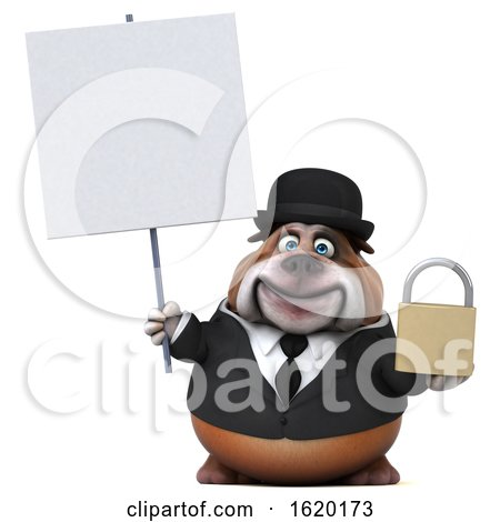 3d Gentleman or Business Bulldog Holding a Padlock, on a White Background by Julos