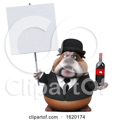 3d Gentleman or Business Bulldog Holding a Wine Bottle, on a White Background by Julos