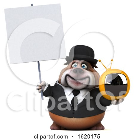 3d Gentleman or Business Bulldog Holding a TV, on a White Background by Julos