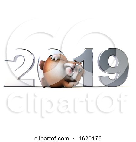 Royalty Free Clipart Illustration of a 3d Bulldog with New Year 2019, on a White Background. by Julos