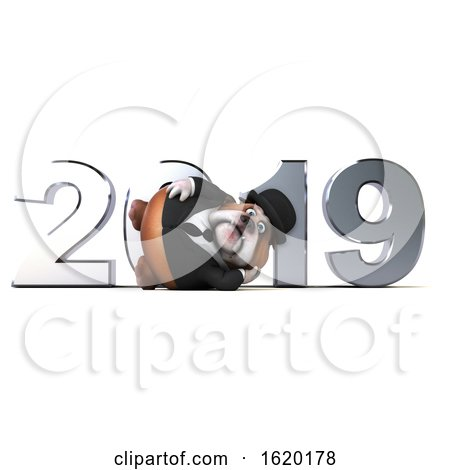 3d Gentleman or Business Bulldog with New Year 2019, on a White Background by Julos