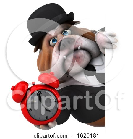 3d Gentleman or Business Bulldog Holding an Alarm Clock, on a White Background by Julos
