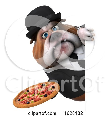 3d Gentleman or Business Bulldog Holding a Pizza, on a White Background by Julos