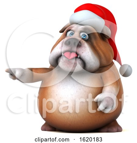 3d Christmas Bulldog, on a White Background by Julos