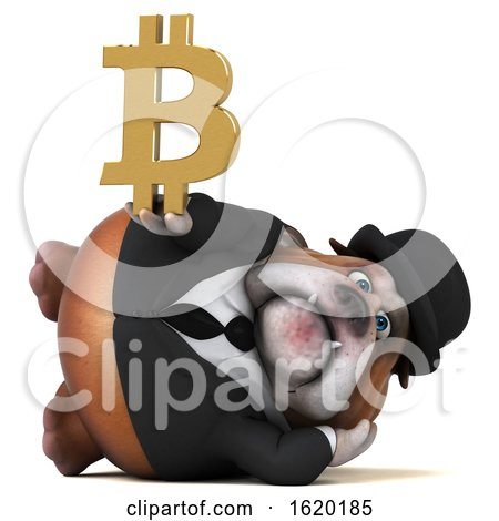 3d Gentleman or Business Bulldog Holding a Bitcoin Symbol, on a White Background by Julos