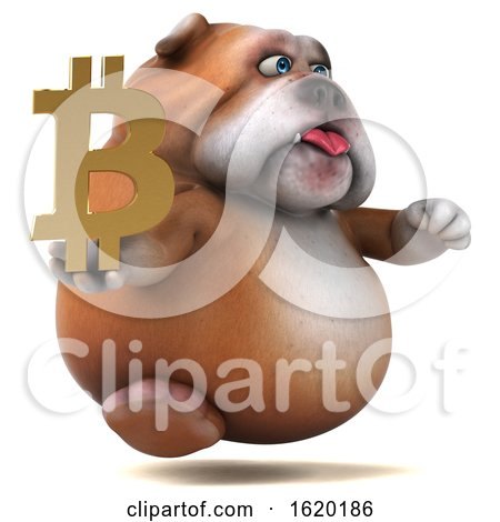 3d Bulldog Holding a Bitcoin Symbol, on a White Background by Julos