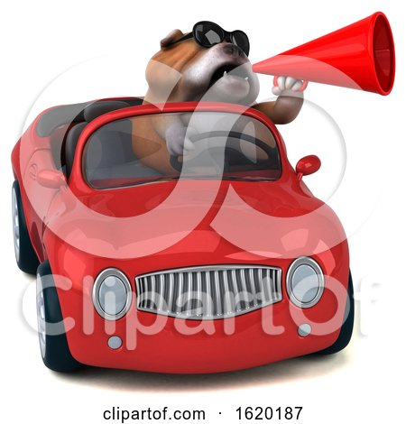 3d Bulldog Driving a Convertible, on a White Background by Julos