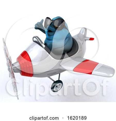 3d Blue Bird Flying a Plane, on a White Background by Julos