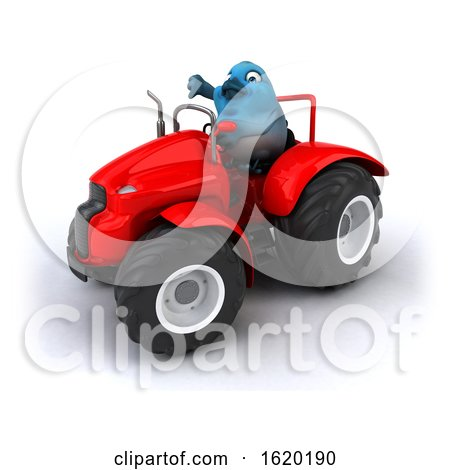 3d Blue Bird Operating a Tractor, on a White Background by Julos