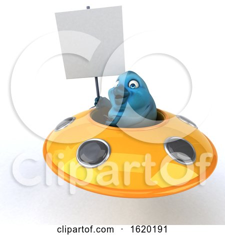3d Blue Bird Flying a Ufo, on a White Background by Julos