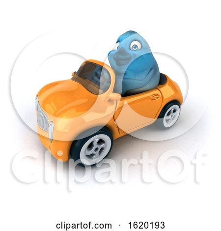 3d Blue Bird Driving a Car, on a White Background by Julos
