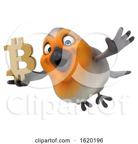 3d Robin Bird Holding a Bitcoin Symbol, on a White Background by Julos
