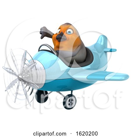 3d Robin Bird Flying a Plane, on a White Background by Julos