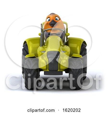 3d Robin Bird Operating a Tractor, on a White Background by Julos