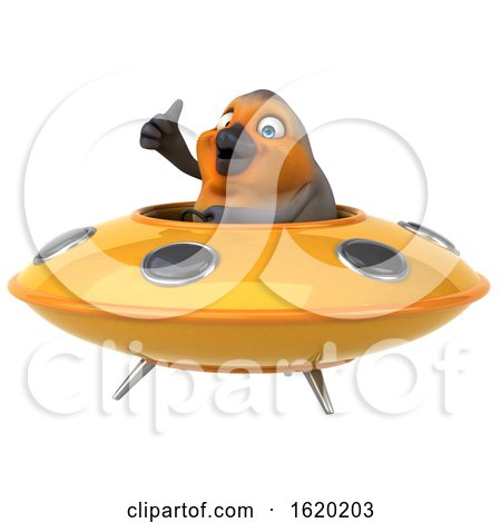 3d Robin Bird Flying a Ufo, on a White Background by Julos