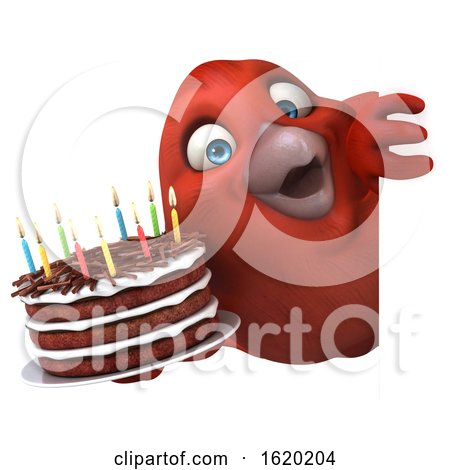 3d Red Bird Holding a Birthday Cake, on a White Background by Julos