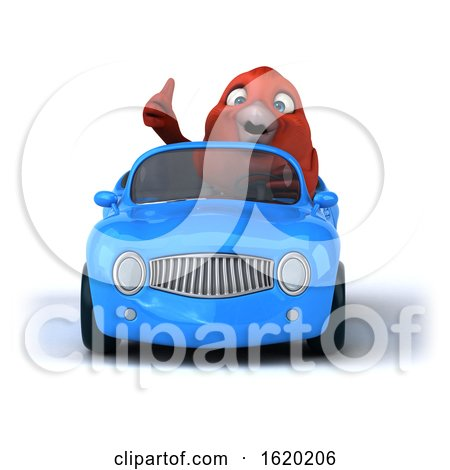 3d Red Bird Driving a Convertible, on a White Background by Julos