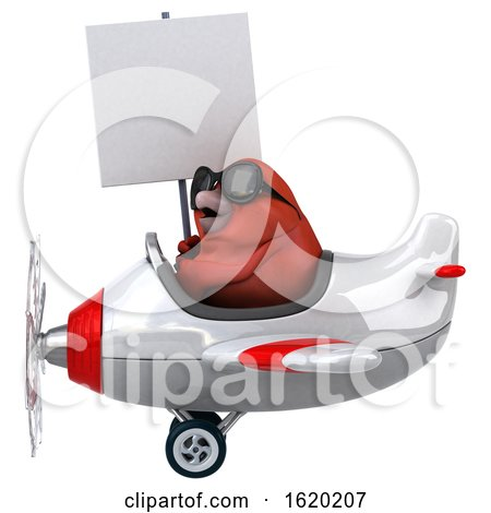 3d Red Bird Flying a Plane, on a White Background by Julos