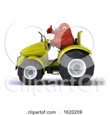 3d Red Bird Operating a Tractor, on a White Background by Julos