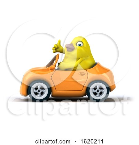 3d Yellow Bird Driving a Convertible, on a White Background by Julos