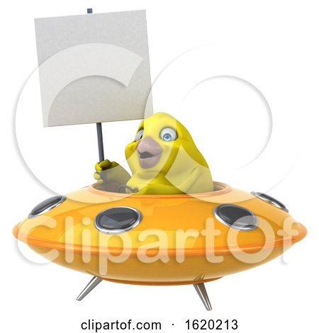 3d Yellow Bird Flying a Ufo, on a White Background by Julos