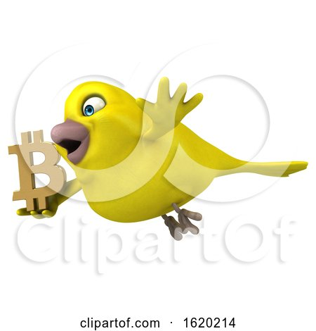 3d Yellow Bird Holding a Bitcoin Symbol, on a White Background by Julos