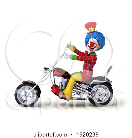3d Colorful Clown Riding a Chopper Motorcycle, on a White Background by Julos