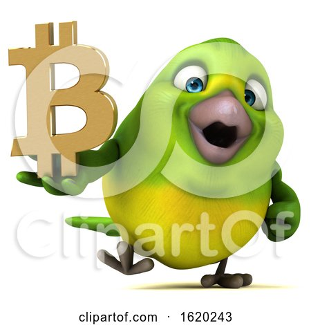 3d Green Bird Holding a Bitcoin, on a White Background by Julos