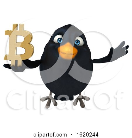 3d Black Bird Holding a Bitcoin Symbol, on a White Background by Julos
