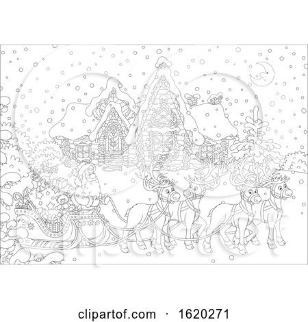 Santa Claus with His Reindeer and Sleigh in Front of a Home in Black and White by Alex Bannykh
