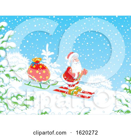 Santa Claus Skiing with a Sled by Alex Bannykh