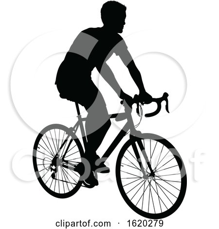 Woman Bike Cyclist Riding Bicycle Silhouette By Atstockillustration