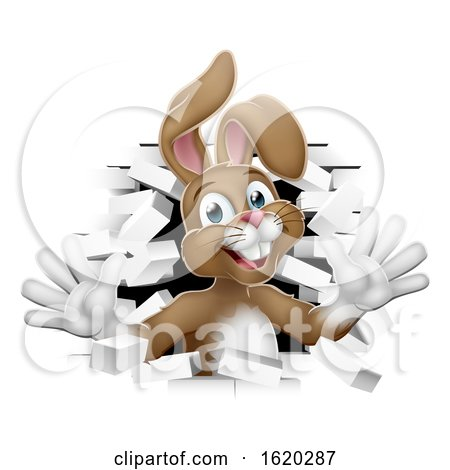 Easter Bunny Rabbit Coming out of Background by AtStockIllustration