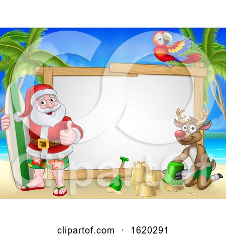 Santa Claus and Reindeer Christmas Beach Sign by AtStockIllustration