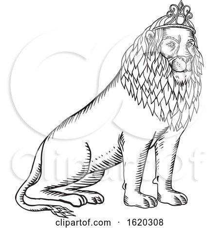 Lion Sitting Wearing Tiara Etching Black and White by patrimonio