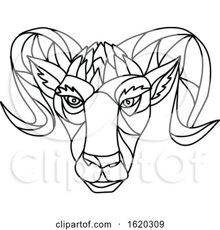 Bighorn Sheep Ram Mosaic Black and White by patrimonio