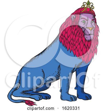 Blue Lion Sitting Wearing Tiara Crown Etching by patrimonio