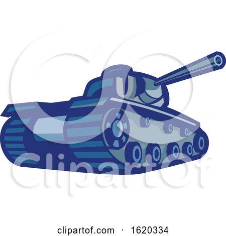 American World War Two Battle Tank Pointing Its Gun by patrimonio