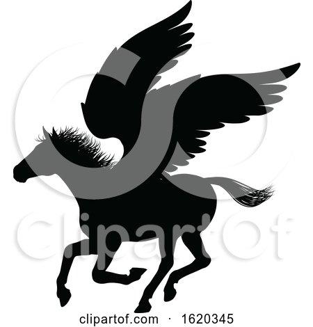 Pegasus Silhouette Mythological Winged Horse by AtStockIllustration