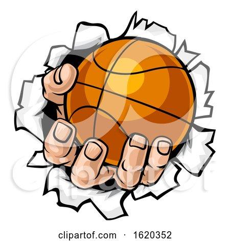 Basketball Ball Hand Tearing Background by AtStockIllustration