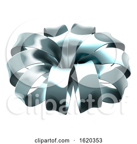 Gift Ribbon Silver Bow Wrap by AtStockIllustration