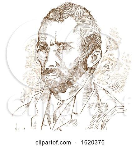 Hand drawn vector portrait Vincent Van Gogh Posters, Art Prints