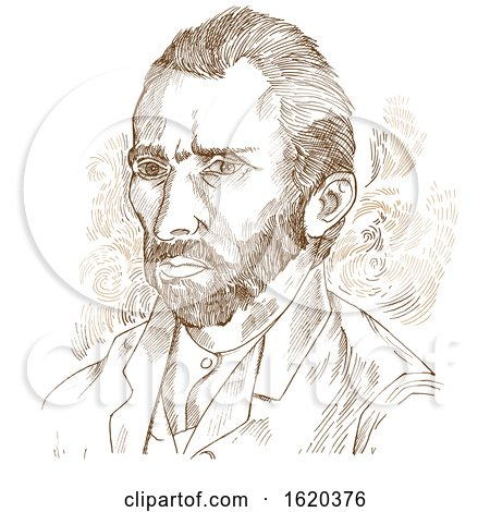 Hand drawn vector portrait Vincent Van Gogh by Domenico Condello