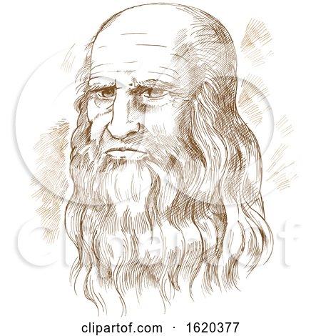 Hand drawn vector portrait Leonardo Da Vinci by Domenico Condello