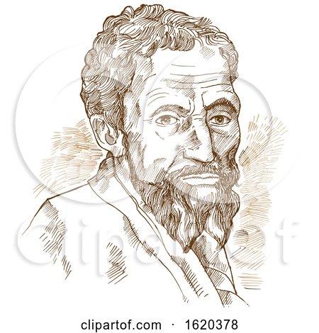 Hand drawn vector portrait Michelangelo by Domenico Condello