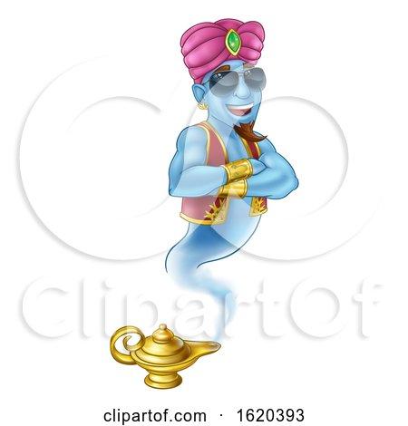 Cool Genie Magic Lamp Aladdin Pantomime Cartoon by AtStockIllustration